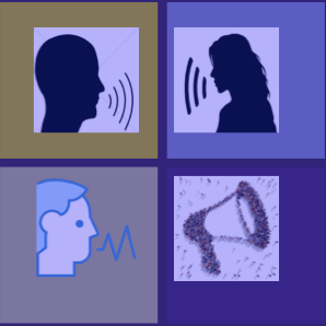 "Panel of 4 images on a theme of ""voice"". Three heads in silhouette with lines coming from mouths to indicate speech, and a megaphone."