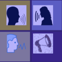 """Panel of 4 images on a theme of """"voice"""". Three heads in silhouette with lines coming from mouths to indicate speech, and a megaphone."""